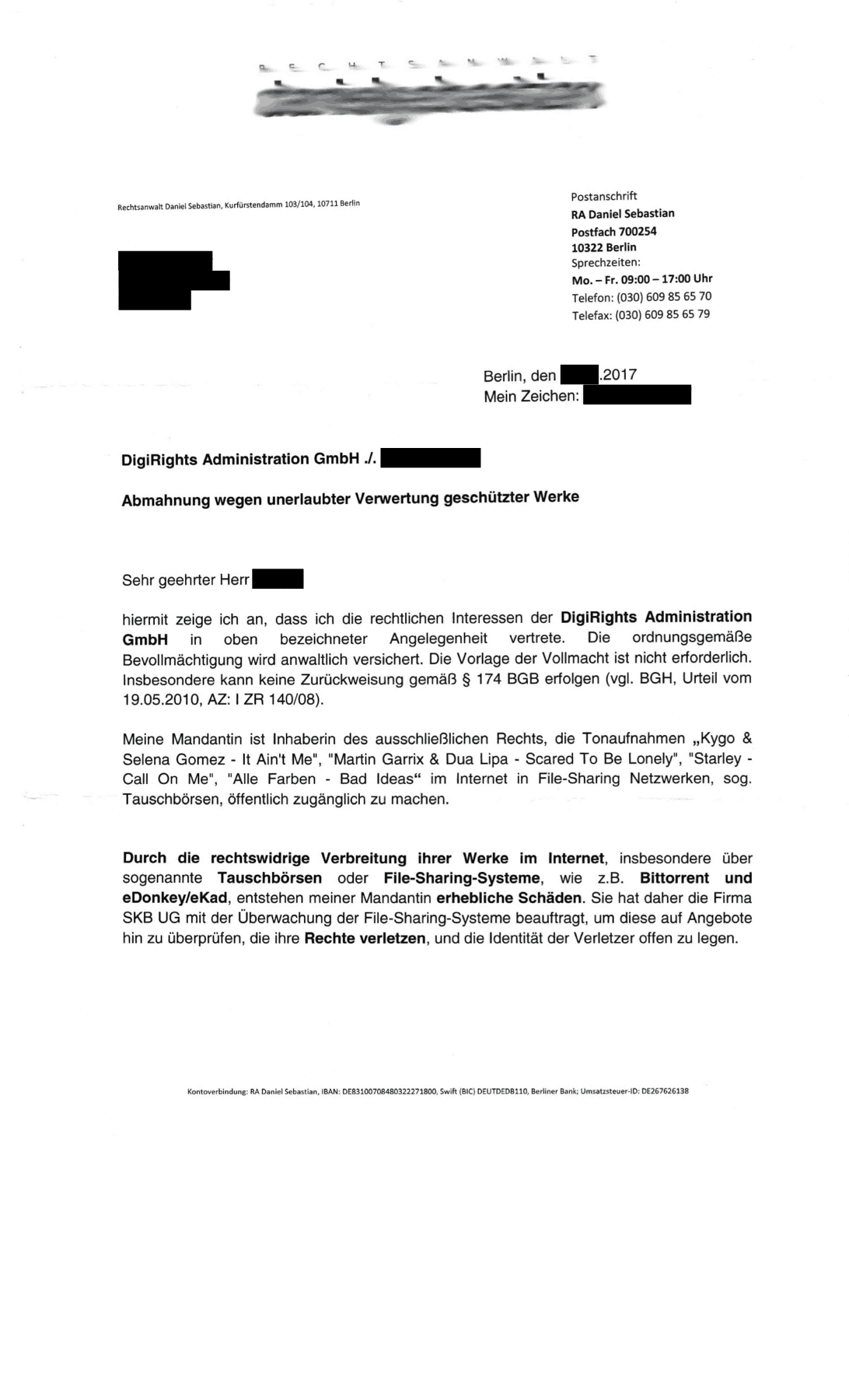 Rechtsanwalt Daniel Sebastian Abmahnung wegen Urheberrechtsverletzung geschützter Werke